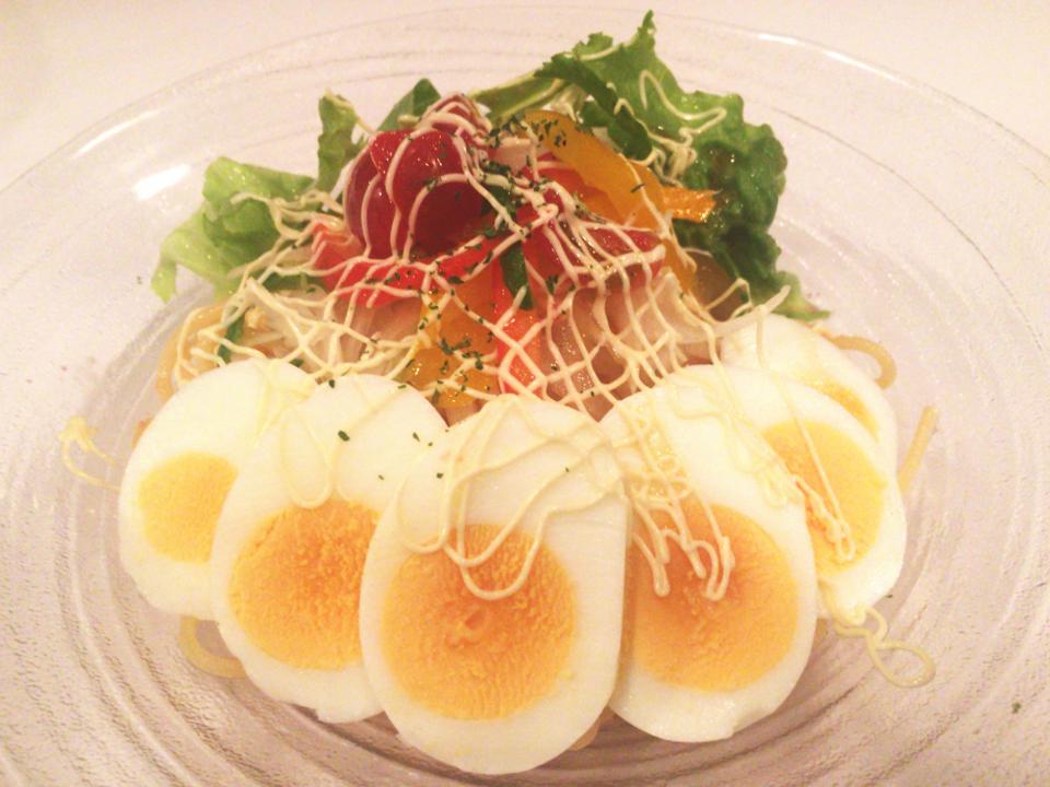 辛子明太子と彩り野菜のパスタ
